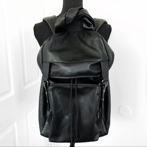 Zara Man Black Vegan Leather Backpack